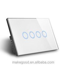 AU/US Glass Panel Wireless wifi control Smart Home Wall Light Power Switch 4gang with SAA certificate