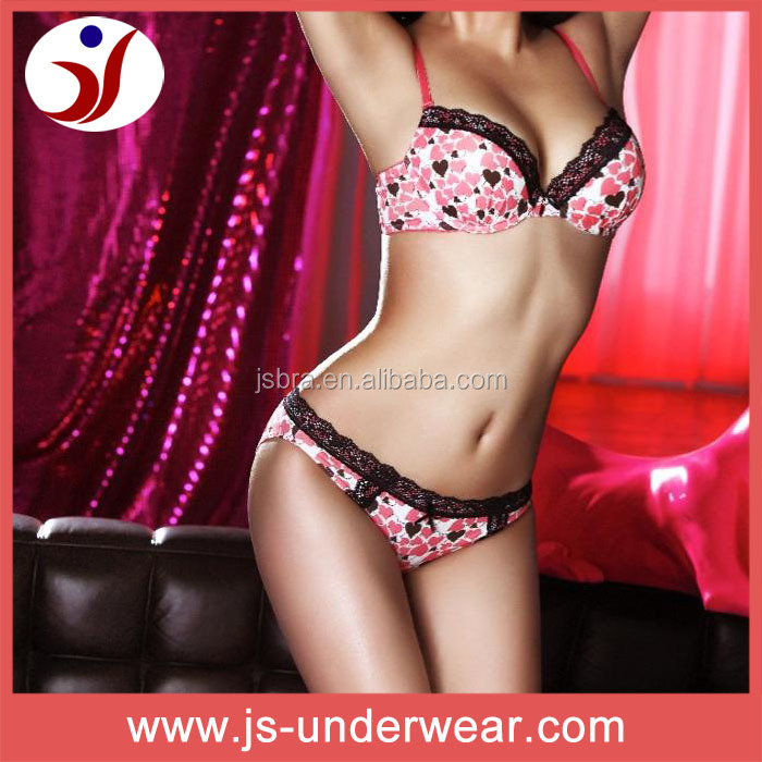 Ladies lovely print bra and panties set, classic teen girls sexy lingerie