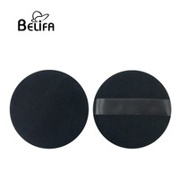 "Belifa custom private label oem 4"" large black 100% pure cotton makeup loose powder puff"