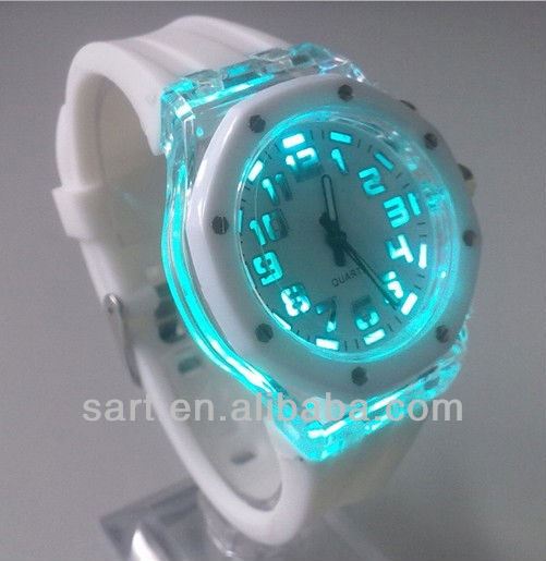 2013 fashion wholesale branded watches with lighted face and rainbrow strap