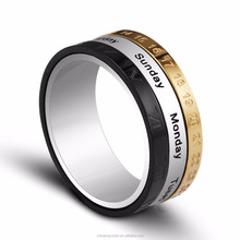 High quality three layer metal stainless steel spinner ring 3 colors calendar date week ring for wholesale