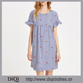 New arrivals Summer girls casual sexy Blue Short Keyhole Tie Back Ruffle Sleeve Striped Embroidered Smock Dress