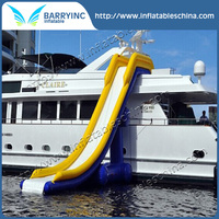 Mega inflatable waterslide in sea,inflatable floating slide, Giant Inflatable yacht water Slide for sale