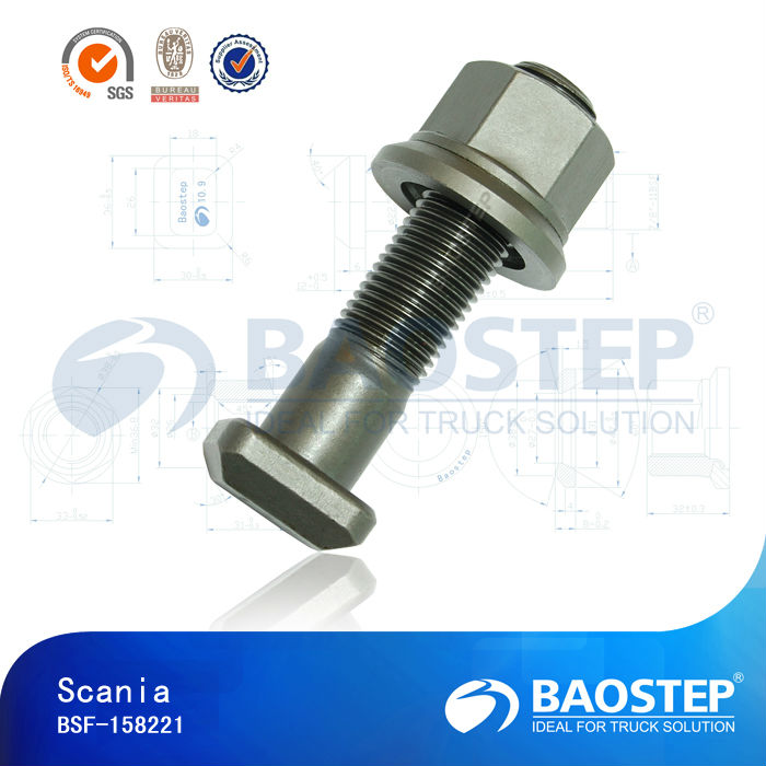 Wheel stud and nut for Scania