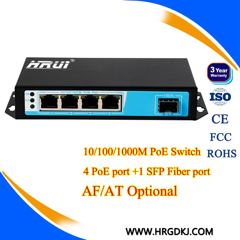 1 SFP port ethernet gigabit POE Switch 4 port