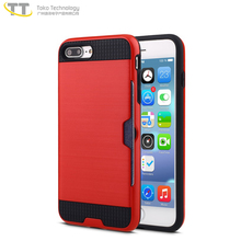 Wire drawing tpu pc back cover credit card slot phone case for iphone 7 plus