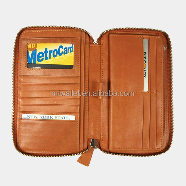 RFID Travel Leather Wallet with Pen Holder/leather zipped clutch wallet