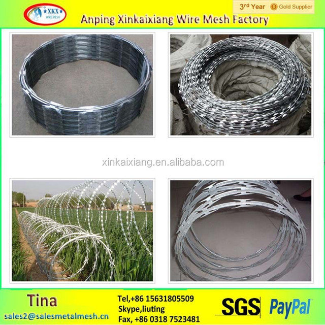450mm concertina razor wire, BTO 22 galvanized razor barbed wire in proper price