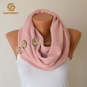 V437 fashion women's open weave Nellie knit scarf with buttons