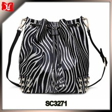 zebra-stripe leather bag zebra draw closure tote bag with studded rivet decoration
