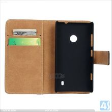 Blank Flip Genuine Leather Case Cover for Nokia Lumia 520 Leather Case P-NKLUMIA520CASE001