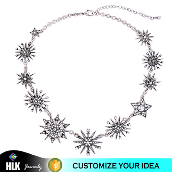 Beautiful Crystal Sun Flower Star Flower Necklace Design For Girls Wholesale