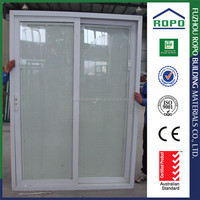 PVC sliding glass doors double glass with blinds inside