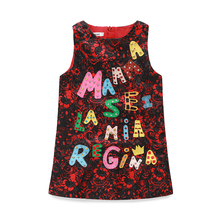 New fashion design letter cloth jacquard small baby girls green magic patch embroidered princess kids dress