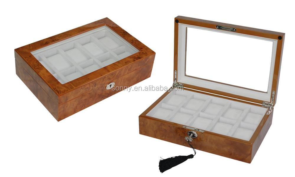 Luxury High Glossy 10 Grids Burl Wood Watch Packaging Box