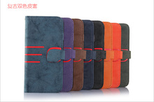 Retro Matte Double color Style Flip Wallet Stand Leather Case For iPhone 6 plus
