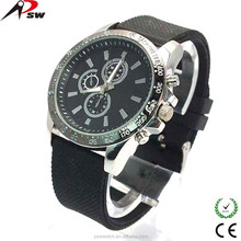 Fashion IP sliver dial mens watch rubber band wrist watch with silicon watch for men