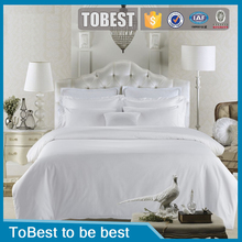 ToBest Pure white 100% cotton Plain hotel bed set /bed linen/ hotel bed sheet