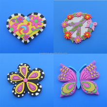 Home decor rubber fridge magnet /flower, heart and butterfly shape refrigerator magnet