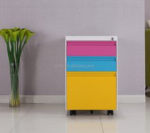 3 Drawer hot-sale metal stainless steel mobile colorful file cabinet