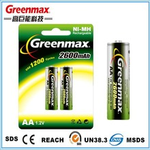 300-2600mAh NI-MH AA 1.2V Rechargeable Battery