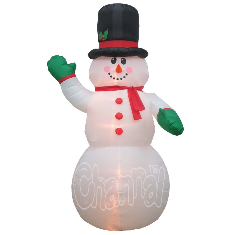Holiday Lighted Green Gloves Inflatable Snowman yard decor