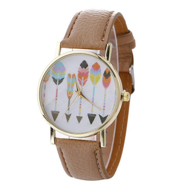 Ladies Cheaper wonderful Fashion Arrow Pattern Leather Analog Quartz Vogue Wrist watch LW085