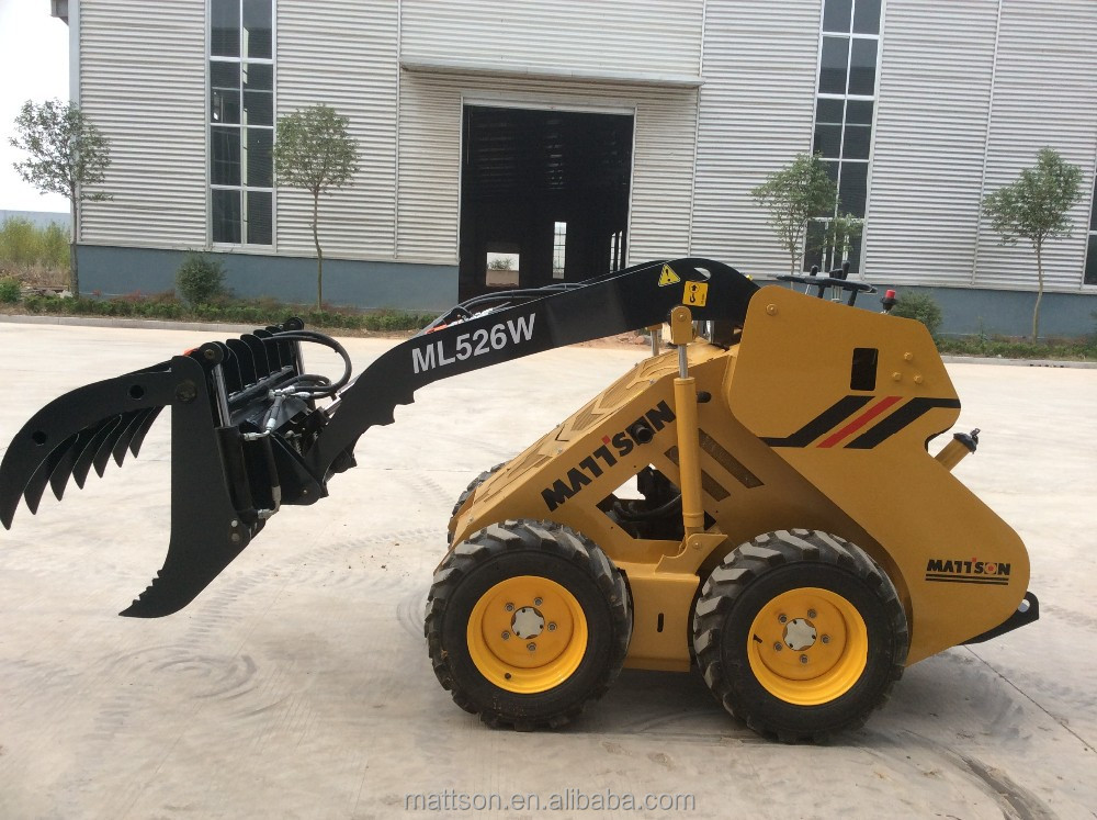 MATTSON mini skid steer loader with perkins engine 26hp wheel style grapple