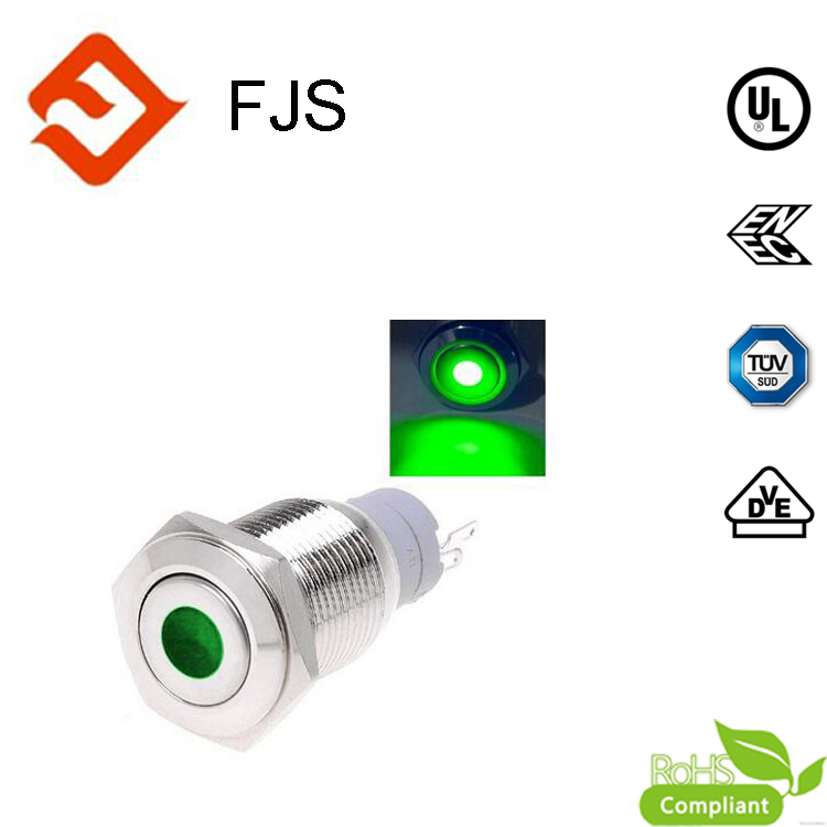IP65 protection16mm Push Button Switch Latching Dot Illuminated LED Stainless Steel