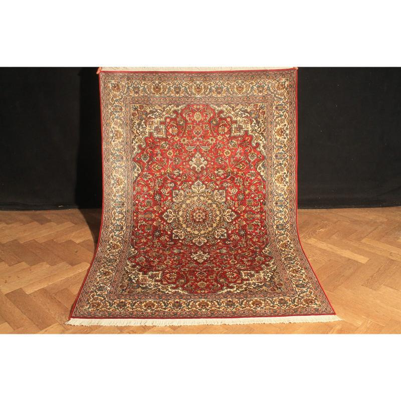 Majestic Persian Rug Oriental Carpet Handknoted Silk Carpet Hereke Gom Ghoum China Silk on Silk 185X125cm