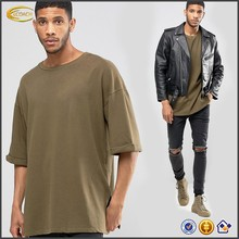 Ecoach Wholesale OEM Hip Pop Men Three Quarter Sleeve Crew Neck Dropped Shoulder Split Side T-Shirt Custom Logo Loose Fit shirts