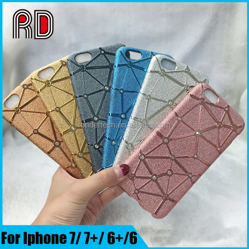 2017 Trending Products Electroplating 3D Bling Diamond Matte Tpu Phone Case for iphone 7 7 plus Laser carving phone case
