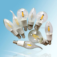 HOT! COB-C3514 led candle lamp e14 2W C35 led candle light/360 degree/ E14&E12/ led filament bulb/UL CE Rohs