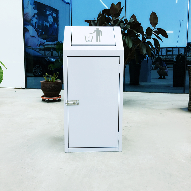 White swing lid standing single compartment galvanized sheet waste bin