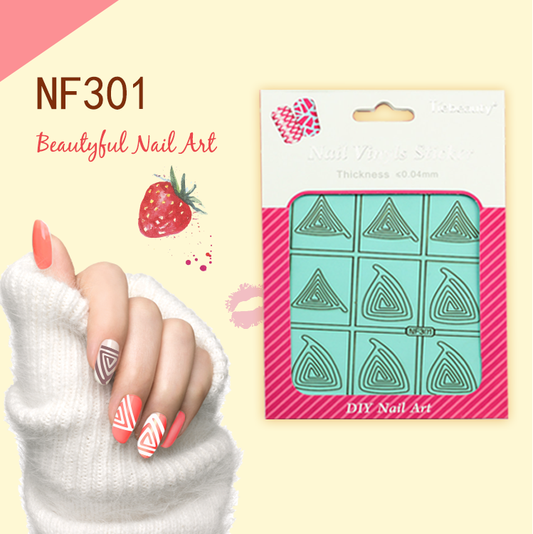 Wholesale hollowed out nail sticker decal hollowed stencil nail sticker colorful nail art designs