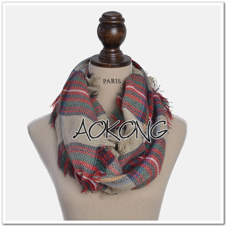 2016 fashion 9 colors stock new winter snood tartan plaid infinity scarf