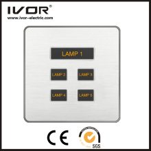 110-250V white square back touch wall Modern design 5 Gang Glass switch Light Silver 5 botton