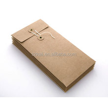 A5 C6 Recyclable Colorful Kraft Paper Envelope Button With String Closure