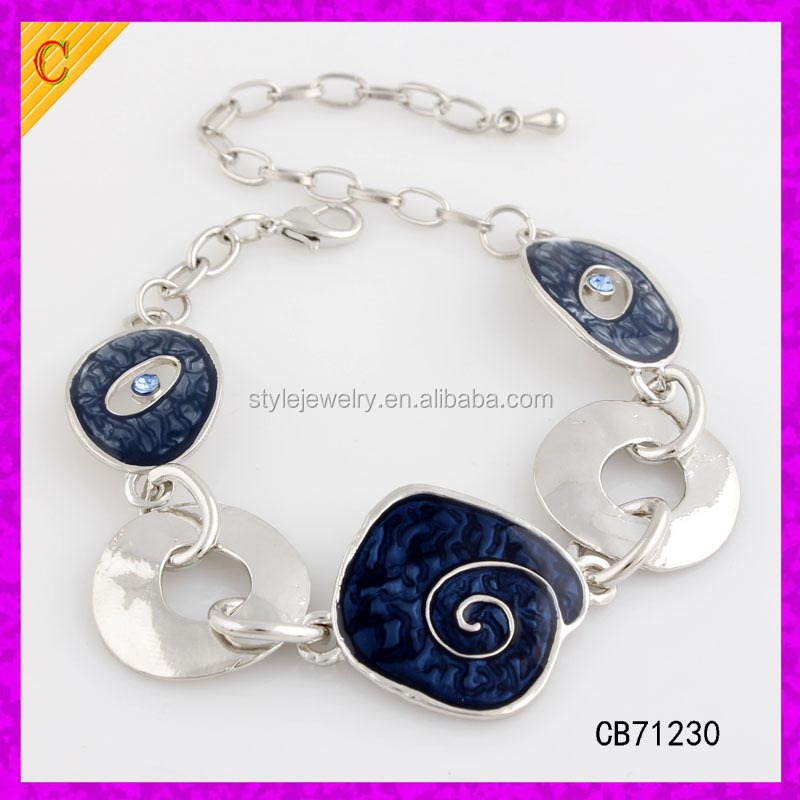 CB71230 Wholesale Fashion Chain Link Bracelet Enamel Zinc Alloy Women Popular Opaque Multicolor Wide Chain Bracelets