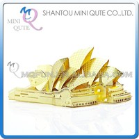 Mini Qute 3D Metal Puzzle Golden Sydney Opera House world architecture building Adult model educational toys gift NO.P022-G