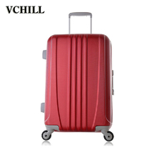 new design ladies red color trolley aluminum luggage for travel
