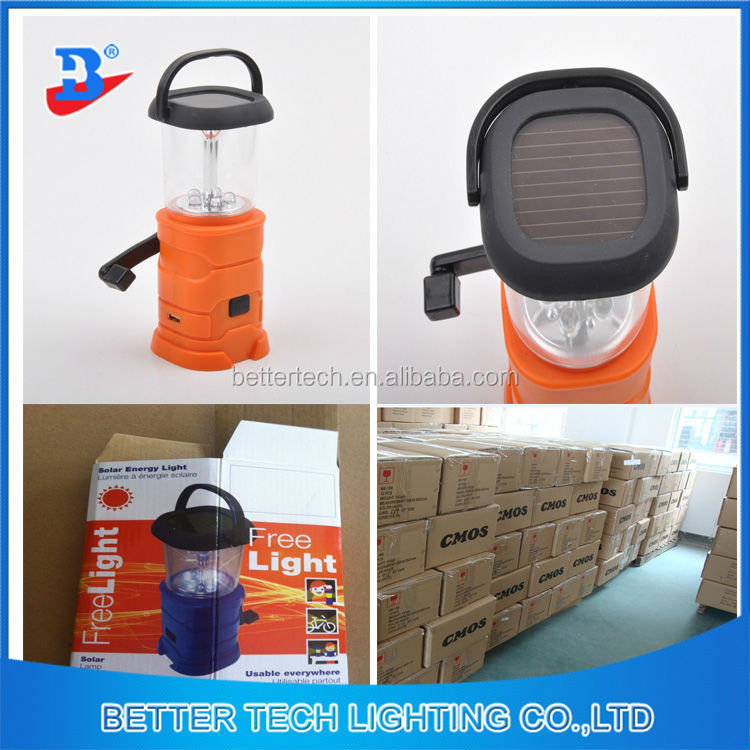 Portable LED Camping Solar Hand Crank Dynamo Lantern With USB Charger