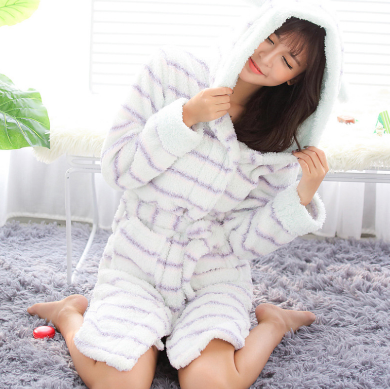Nice quality polar fleece hotel bathrobe for women from china supplier