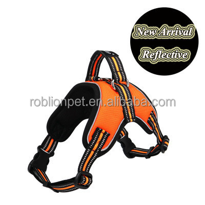 RoblionPet Best quality reflective adjustable dog harness wholesale for taking a walk in night