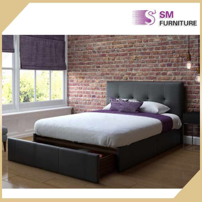 Simple design hot sale bedroom furniture PU leather bed twin size bed