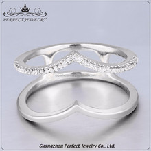 Wholesale women accessories simple design single AAA zirconia ring sterling silver jewellery for girls