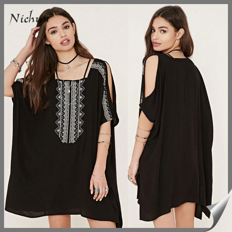 2016 Fashion Embroidered Elegant Women Cold Shoulder Square Neck Mini Dress Dropshipping Clothing