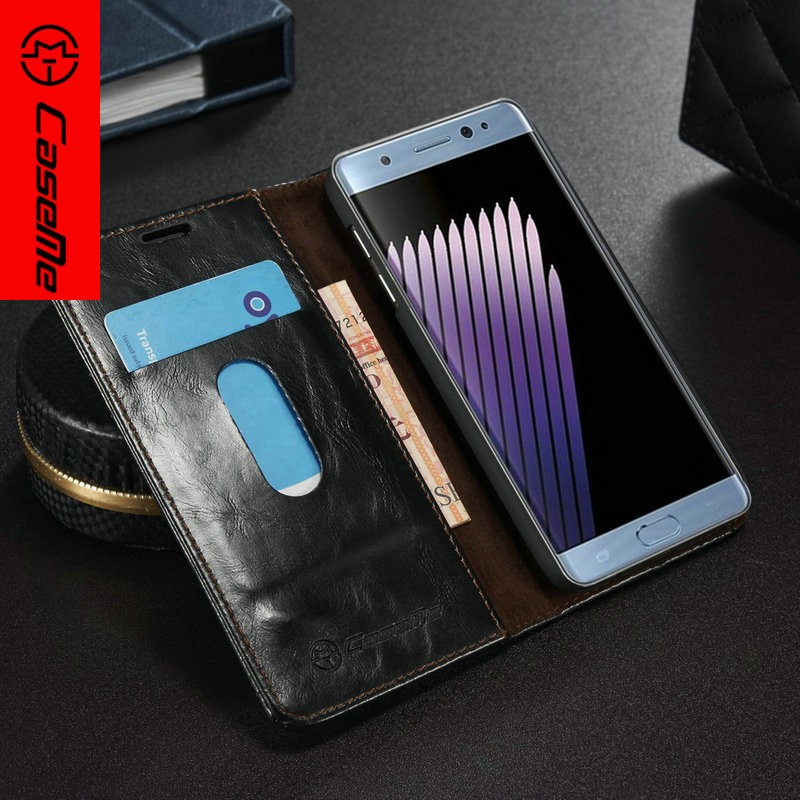 Handmade leather wallet cell phone case with card slots for samsung galaxy note7