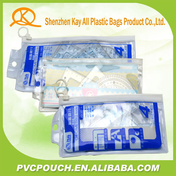Different Size PVC Plastic Office Stationery Mesh Bags With Slider Zipper