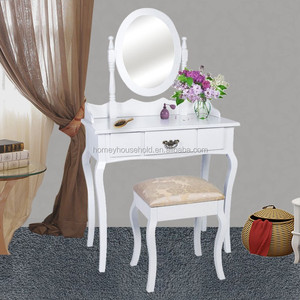 French white wood cheap dressing table with stool set